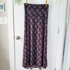 LuLaRoe Black & Brown Peacock Feather Maxi Skirt